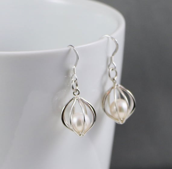 Caged Earrings - Sterling Silver & Pearl