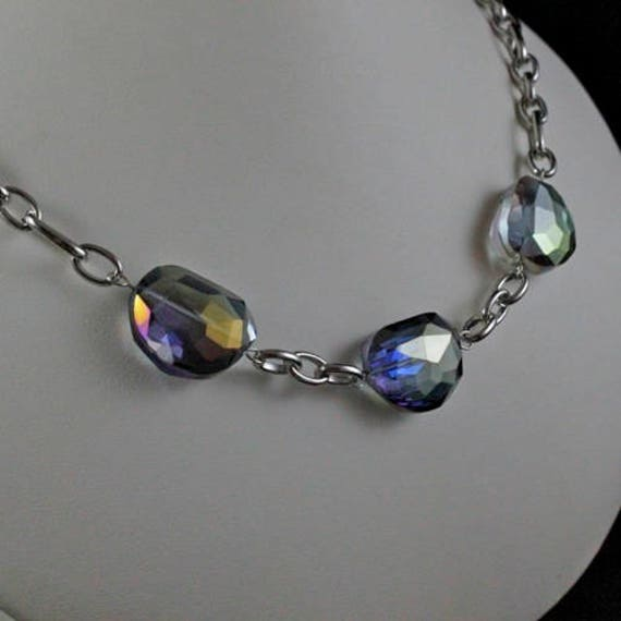 Blue Rainbow Necklace - Swarovski Crystal & Antiqued Silver