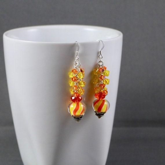 Candy Corn Stripes Earrings - Lampwork Glass   Swarovski Crystal   Sterling Silver