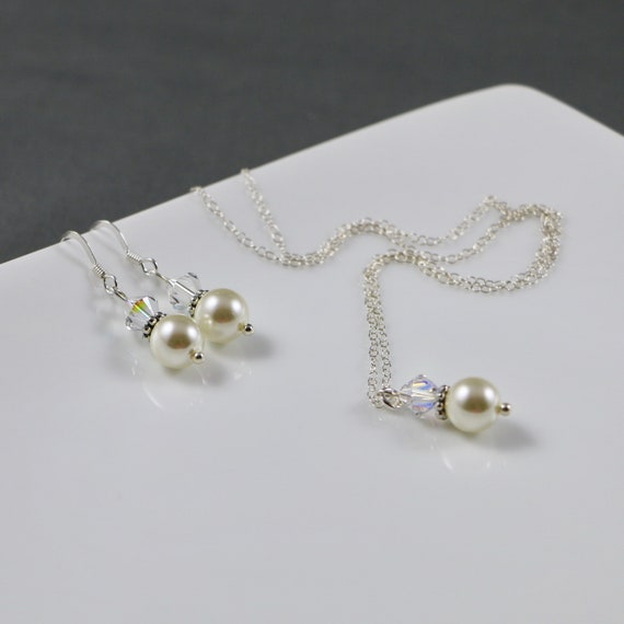 Christina Necklace & Earring Set - Wedding | Swarovski Pearl | Swarovski Crystal | Sterling Silver