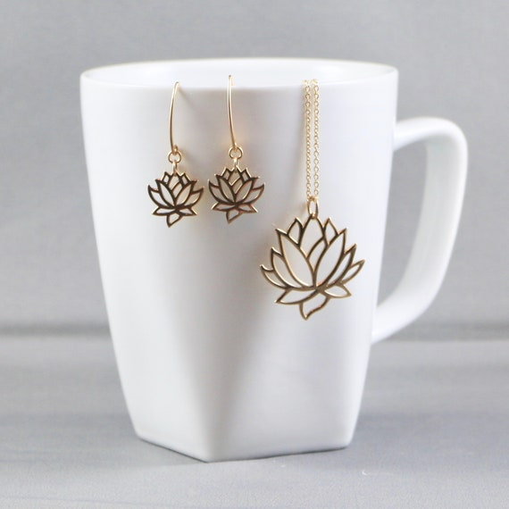 Lotus Flower Necklace & Earring Set - Gold-fill | Sterling Silver | Nature | Yoga