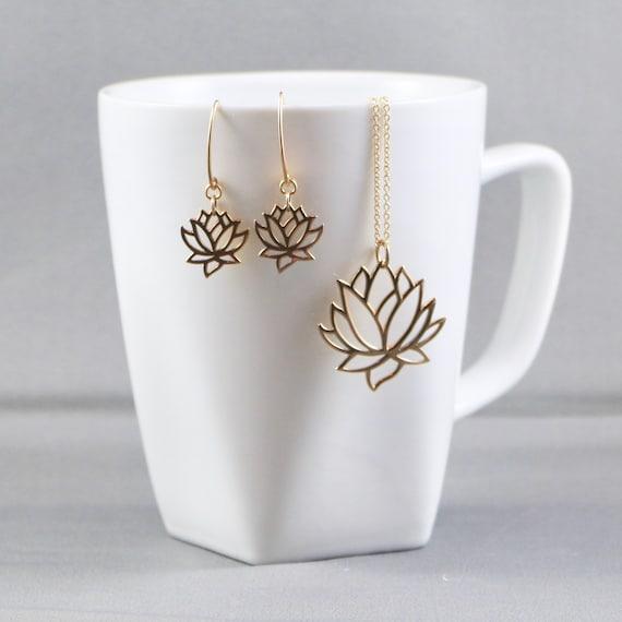 Lotus Flower Necklace & Earring Set