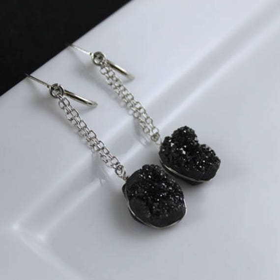Bedrock Earrings - Druzy & Sterling Silver