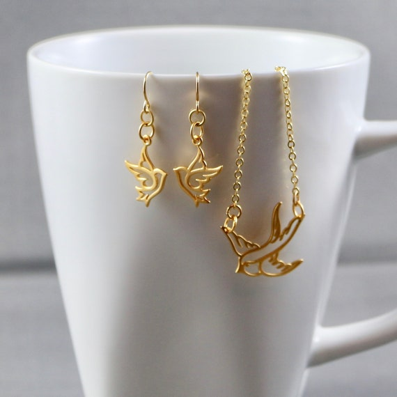 Bird in Flight Necklace & Earring Set - Gold-fill | Nature | Animal | Minimalist
