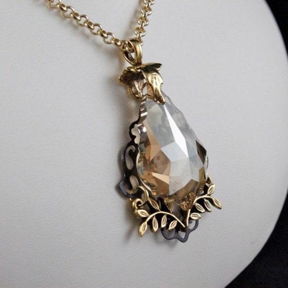 Autumn Sunshine Pendant Necklace - Swarovski Crystal | 14kt Gold-fill | Brass