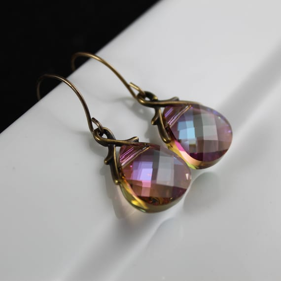 Antique Purple Goddess Earrings - Natural Brass | Swarovski Crystal
