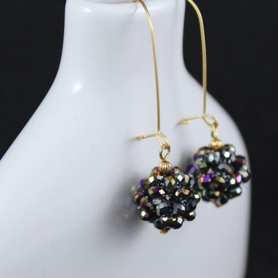 Ball Drop (Jet Vitral) Earrings - Swarovski Crystal & Matte Gold