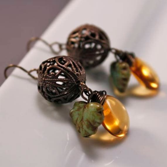 Autumn Colors Earrings - Natural Brass | Pressed Glass