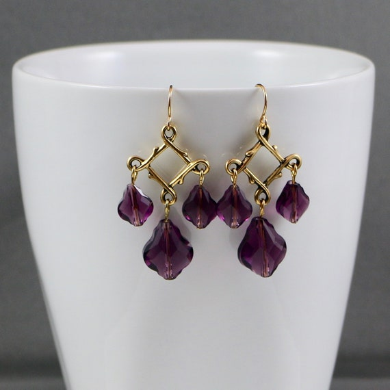 ROYALLY BAROQUE (Amethyst) • 14kt Gold-fill Earrings •  Amethyst Swarovski Crystal • Antiqued Gold
