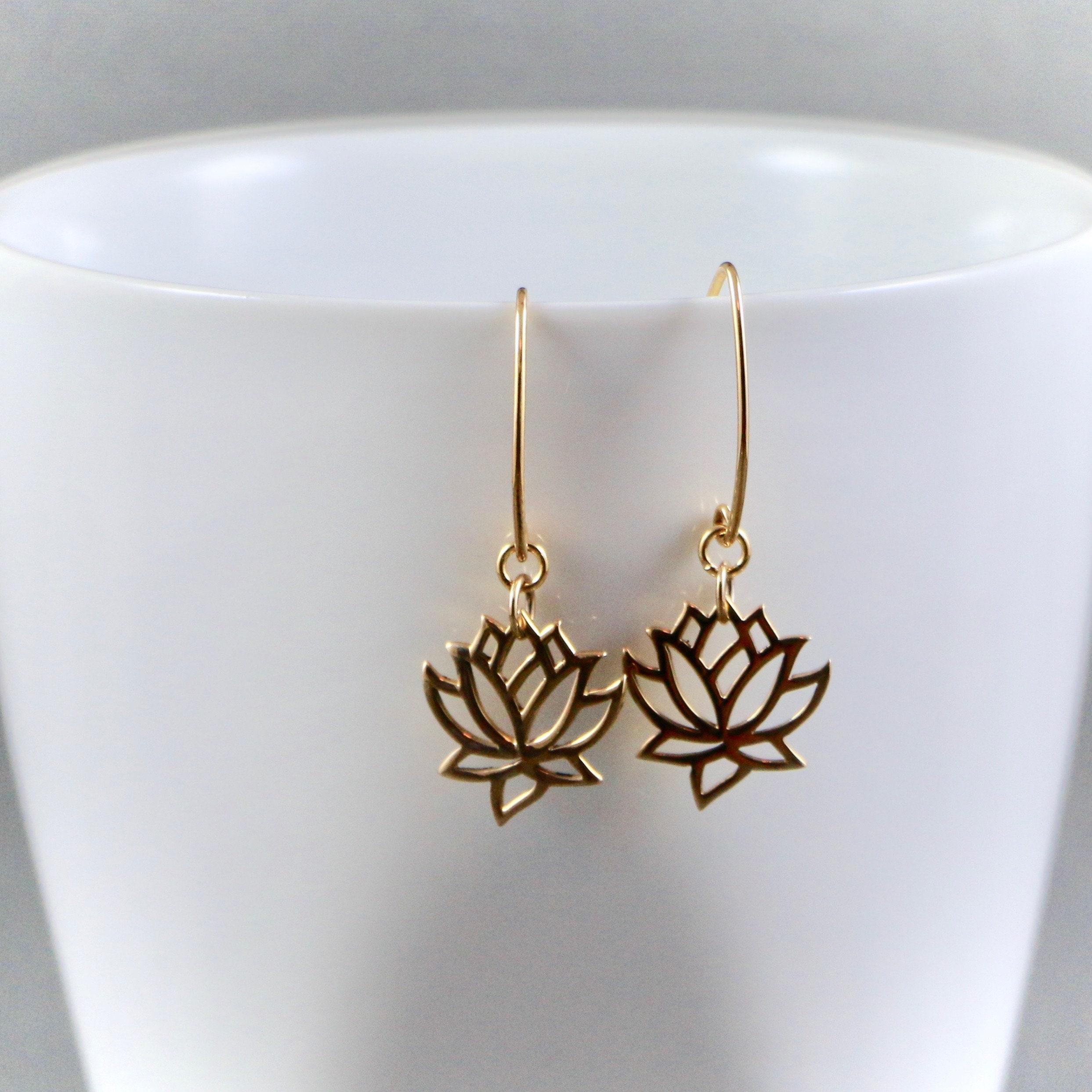 Lotus Flower Earrings Gold Fill Nature Yoga