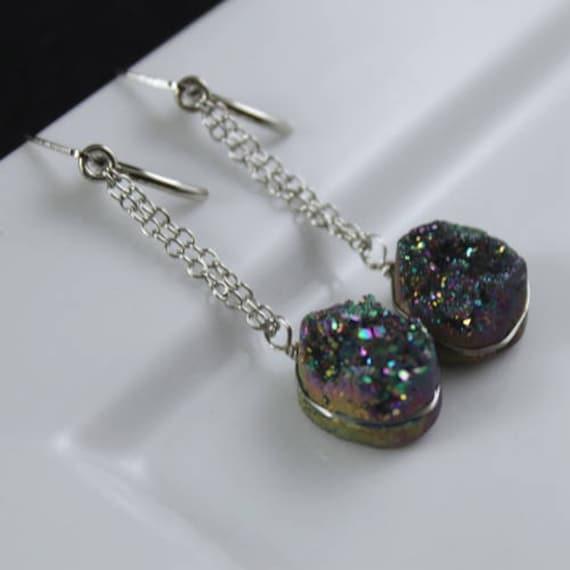 Rainbow Rock Earrings - Druzy and Sterling Silver