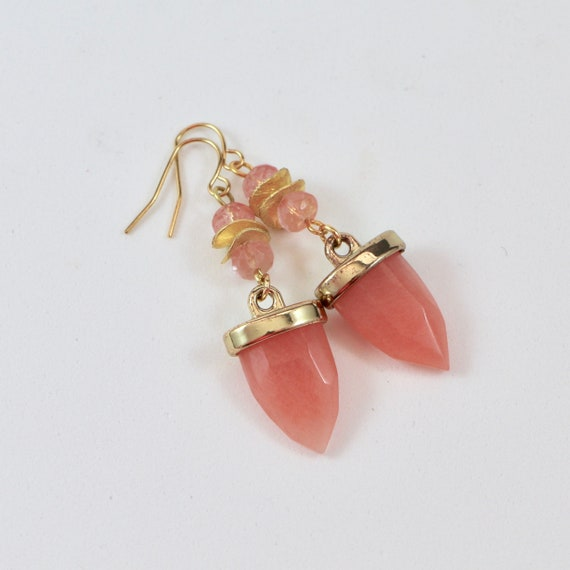 BLUSHING ARROWHEAD •  Cherry Quartz •  14kt Gold-fill •  Gemstone Earrings