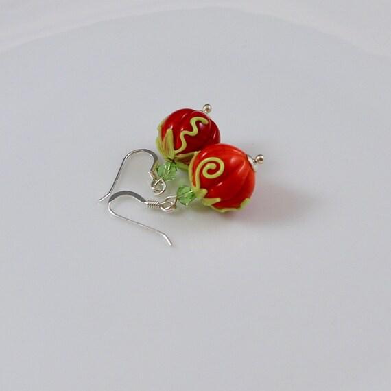 Pretty Pumpkin Earrings - Lampwork Glass Pumpkins   Swarovski Crystal   Sterling Silver