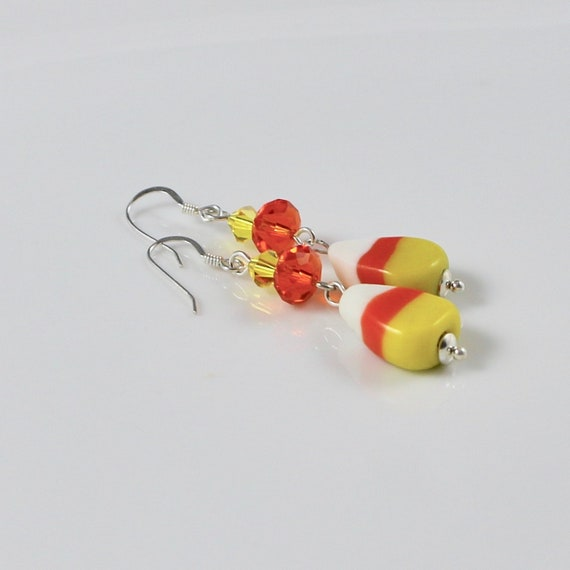 Candy Corn Earrings - Lampwork Glass Candy Corn Beads | Swarovski Crystal | Sterling Silver