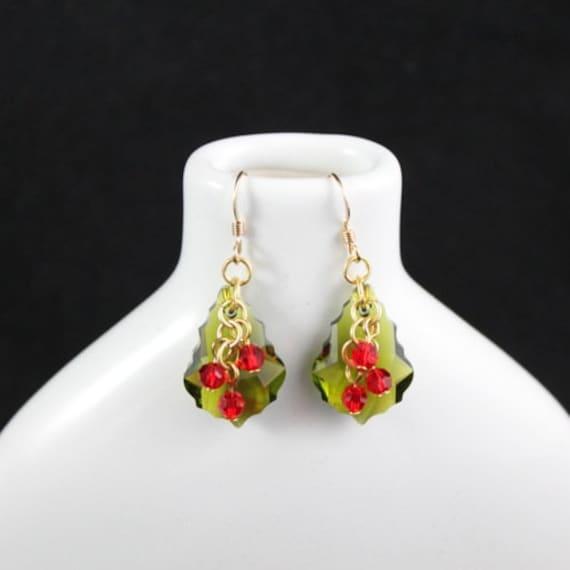 Happy Holly Earrings - Swarovski Crystal | Gold-fill | Christmas | Holiday