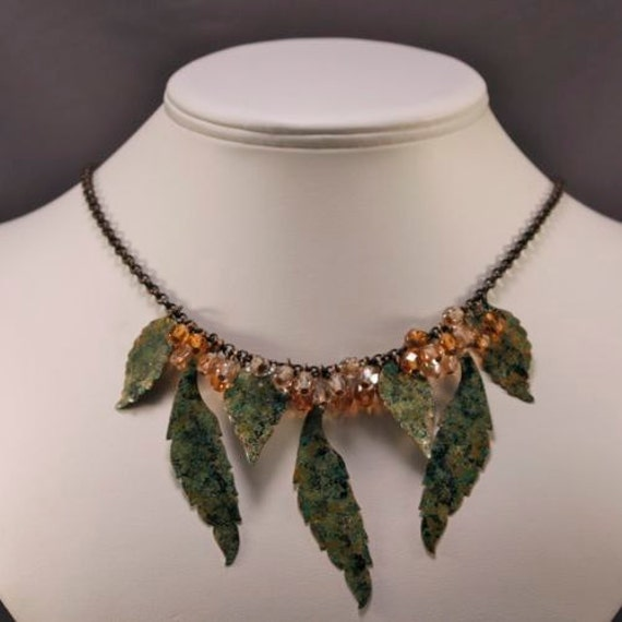 Autumn Days are Here Again Necklace - Hand-painted Natural Brass | Czech Crystal
