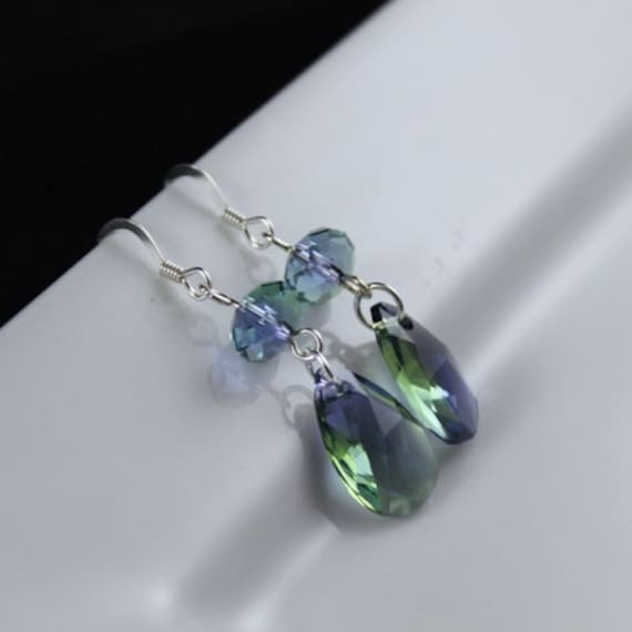 Sea Glass Earrings - Swarovski Crystal & Sterling Silver