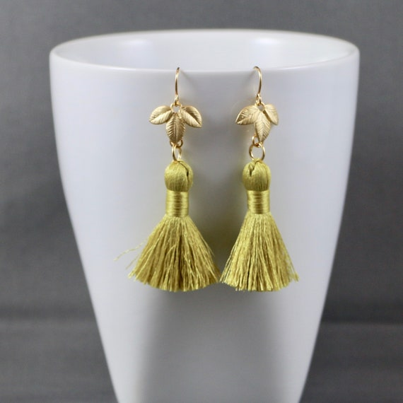 Meadowlark Fringe Earrings - Tassel | Matte Gold | Leaf