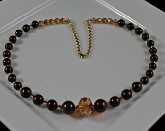 Cinnamon Sparkle Necklace (N214) - Swarovski Crystal & Pearl and Gold-fill
