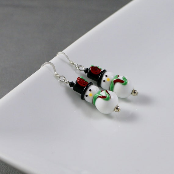 Traditional Snowman Earrings - Lampwork Glass | Sterling Silver \ Holiday | Christmas