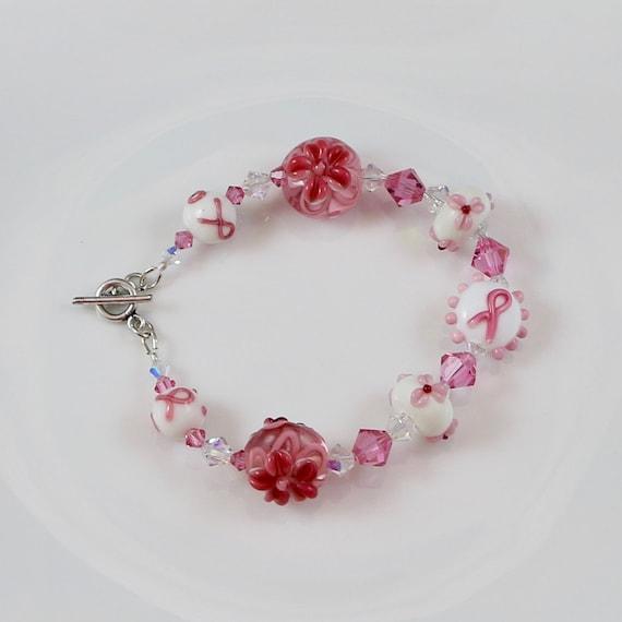 Flowers of Hope Bracelet - Breast Cancer Awareness | Lampwork Glass | Sterling Silver | Swarovski Crystal