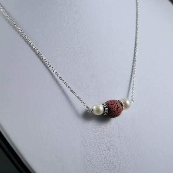 Lava Bead and Freshwater Pearl Essential Oil Diffuser Necklace - Sterling Silver  | Diffuser Jewelry