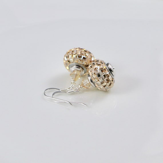 BeCharmed - Champagne Pave Square Earrings | Swarovski Crystal | Sterling Silver