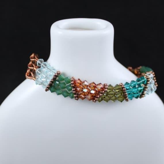 Copper Sunset Multi-strand Bracelet - Swarovski Crystal | Copper