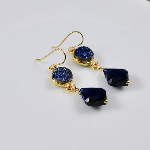 Dress Blues Earrings - Iridescent Blue Druzy | Indigo Blue Swarovski Crystal | Gold Vermeil