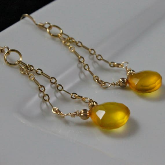 Honey Earrings - Chalcedony Gemstones & Gold-Fill