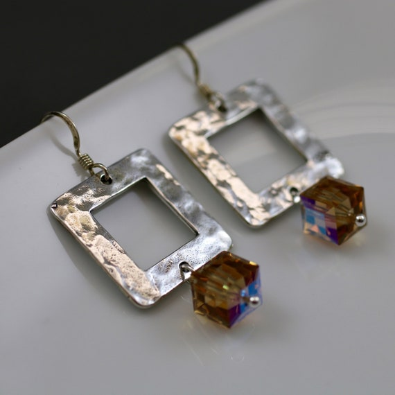 Squared Up Earrings - Sterling Silver | Swarovski Crystal