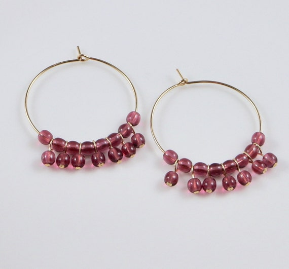 Fuchsia Orb Hoop Earrings - Pink Pressed Glass | Gold-filled