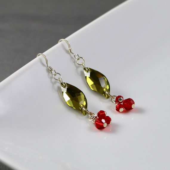 Holly Berry Earrings - Swarovski Crystal | Sterling Silver | Holiday | Christmas