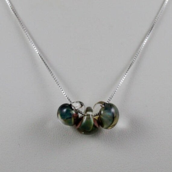 Watercolor Necklace - Lampwork Glass & Sterling Silver