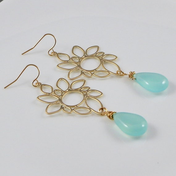 COSMIC SEAGLASS  • Gemstone Earrings • 14kt Gold-fill • Chalcedony Gemstone