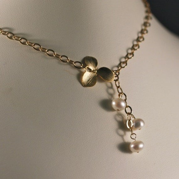 Golden Orchid Freshwater Pearl Necklace