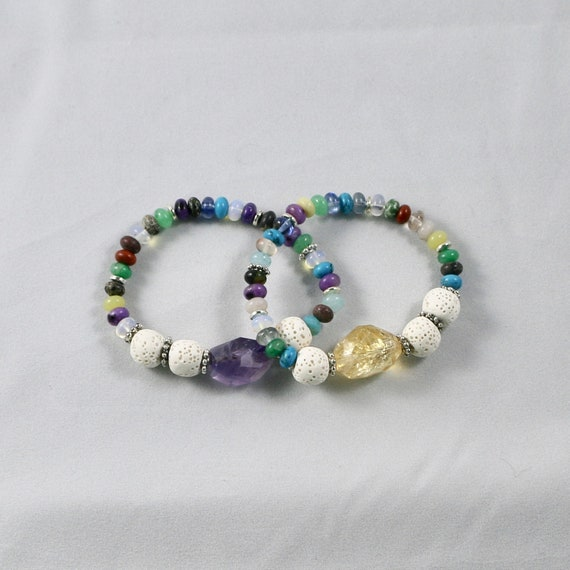 CHROMATIC • Multi-Gemstone • White Lava • Diffuser Bracelet • Aromatherapy Jewelry