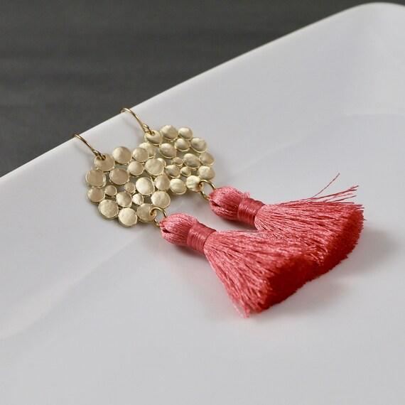Blooming Dahlia Fringe Earrings - Tassel | Matte Gold