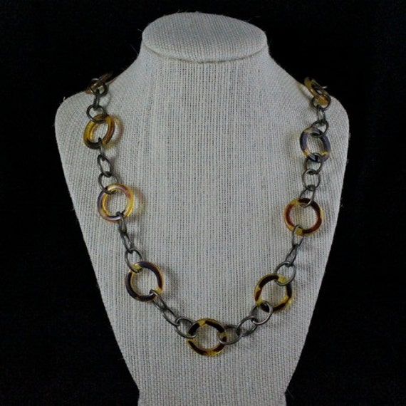 Into the Wild Necklace - Brass & Leopard Print Acrylic Link