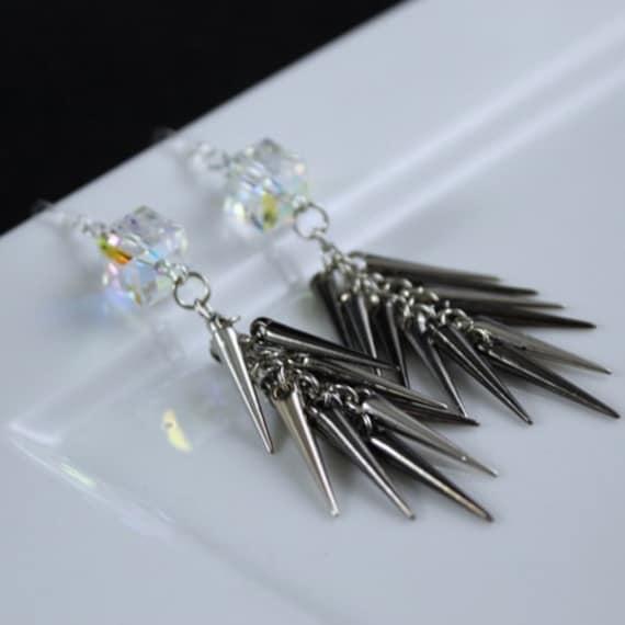 Spike the Cube Earrings - Swarovski Crystal | Pewter | Gunmetal | Sterling Silver