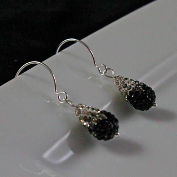 Long Platinum Bling Earrings - Swarovski Crystal & Sterling Silver
