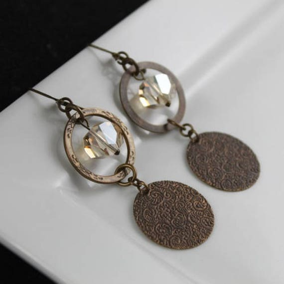 Superannuated Earrings - Natural Brass & Swarovski Crystal