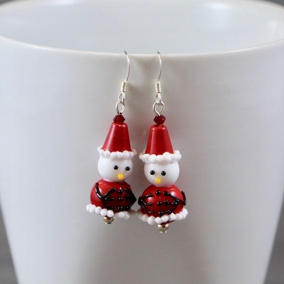 Santa Snowman Earrings - Lampwork Glass | Sterling Silver | Holiday | Christmas