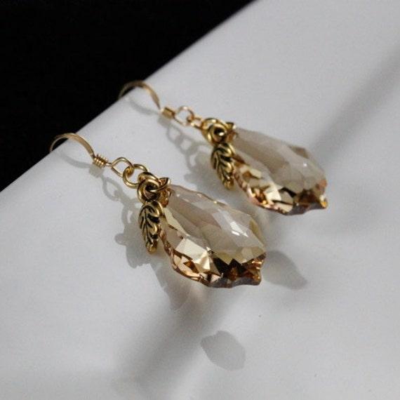 Autumn Sunshine Earrings - Swarovski Crystal Pendant | 14kt Gold-filled | Brass