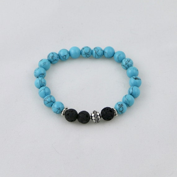 AMITY TURQUOISE • Black Lava • Turquoise • Sterling Silver • Diffuser Bracelet • Aromatherapy Jewelry