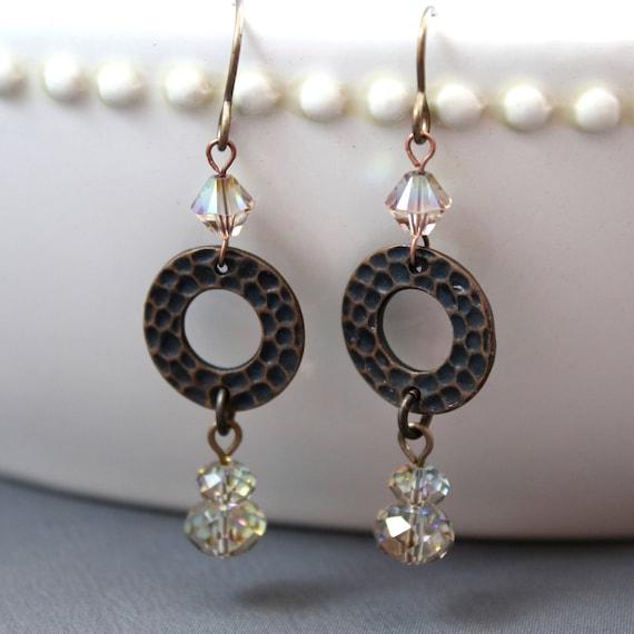 Copper Purple Haze Earrings - Natural Brass & Swarovski Crystal