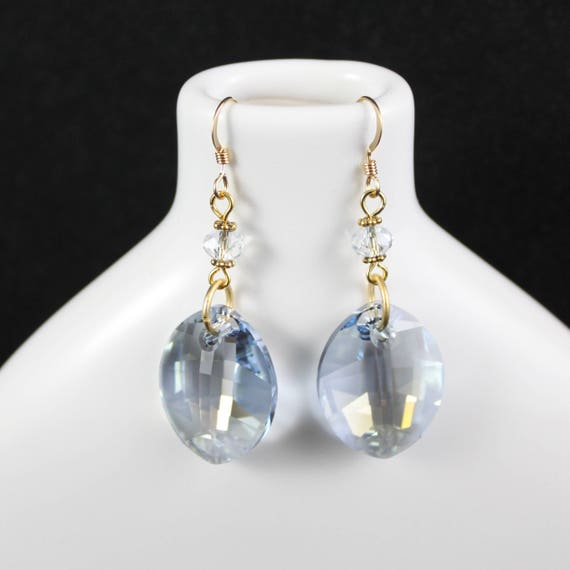 Blue Sky Dazzle Earrings - Swarovski Crystal & Gold-filled