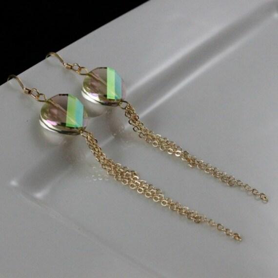 Luminous Earrings (E888) - Swarovski Crystal & 14kt Gold-filled Chain