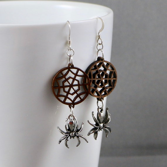 Tangled Web Earrings - Wood Web Link | Pewter Spider