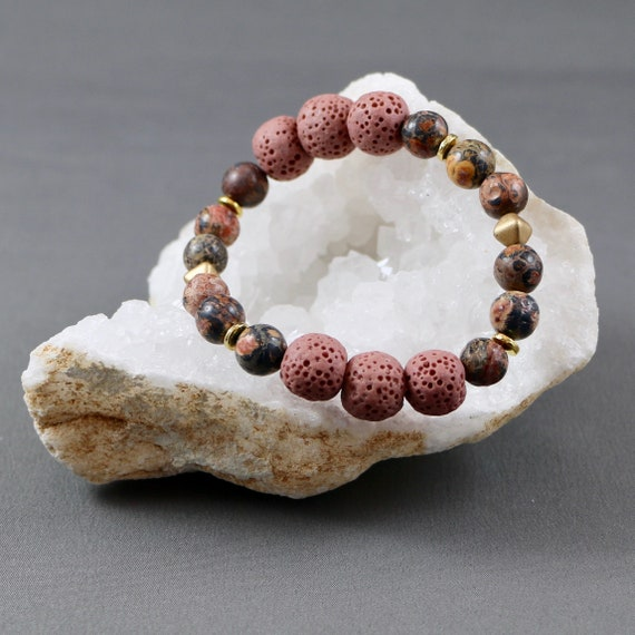 BLUSH • Pink Lava • Jasper Gemstone • Matte Gold • Diffuser Bracelet • Aromatherapy